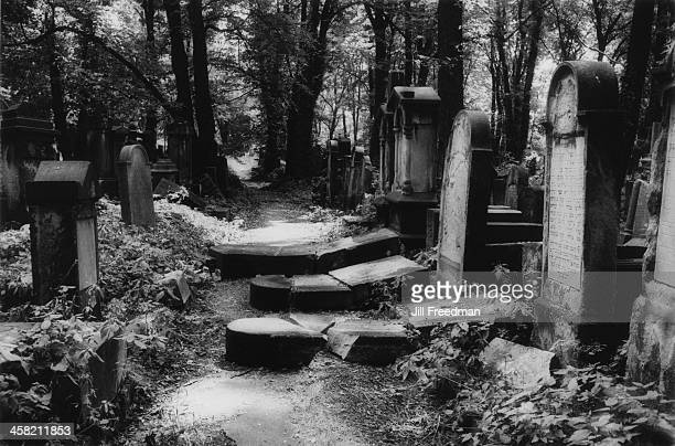 Desecrated gravestones inside a Jewish cemetery in Krakow Poland 1994