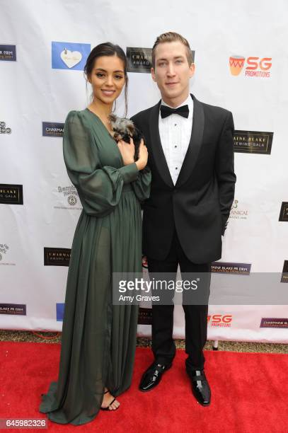 Deserae Rose and Talon Reid attend Charmaine Blake's 2nd Annual Red Carpet Academy Awards Viewing Party Hosted By Bruno Gunn And Golden Brooks on...