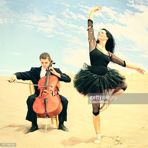 desert ballerina and cellist - cellist stock pictures, royalty-free photos & images