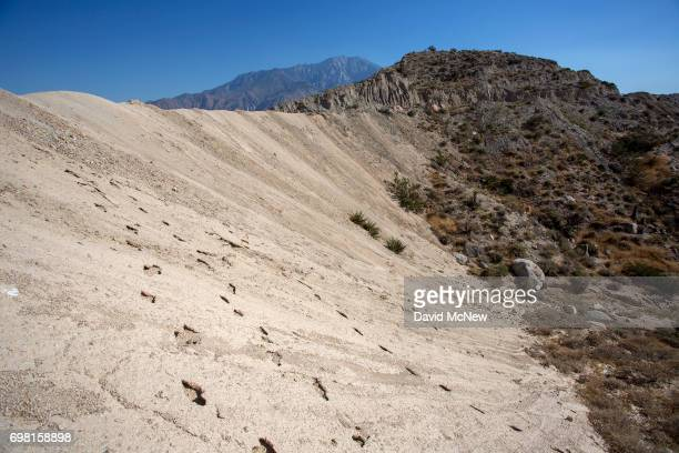 Desert bighorn sheep tracks are seen on a hillside along the San Andreas Fault on June 17 2017 near Palm Springs California An earthquake early...