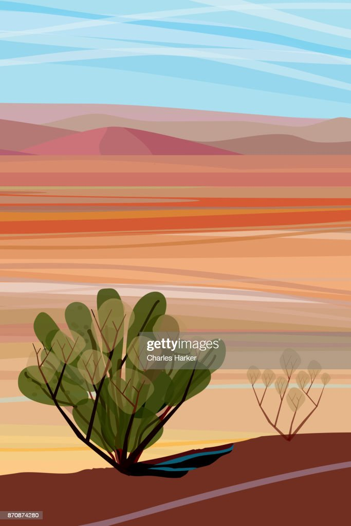 Desert, Cactus brush, Mountains in distance Landscape Illustration : Stock Photo