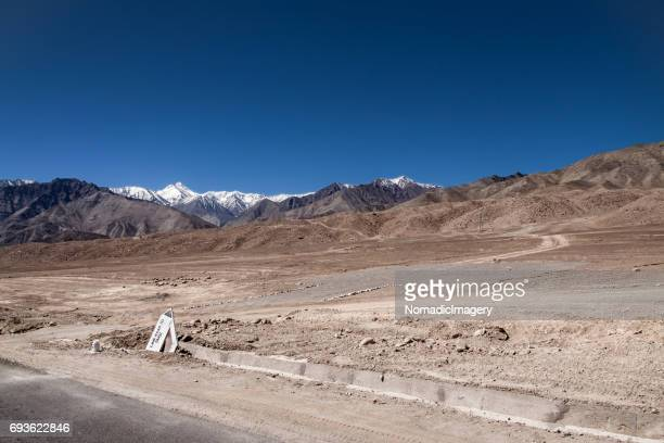 Desert highway through the Himalaya mountains in Ladakh
