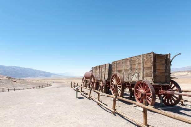 Desert, Historic Borax Mine, 20 mule team car, Harmony Borax Works, Death Valley National Park, California, USA