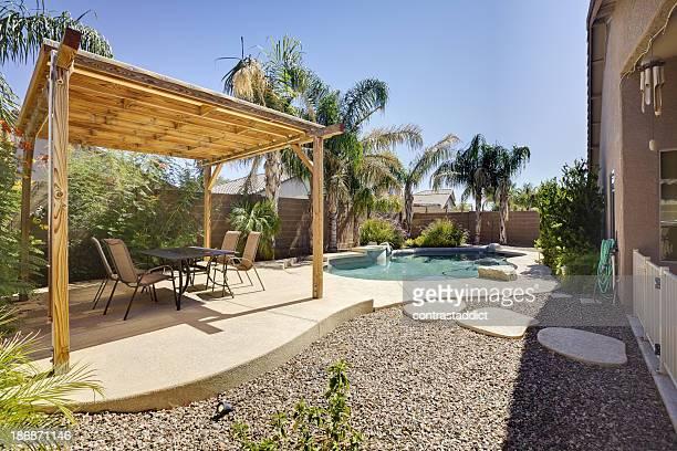 Desert home backyard.