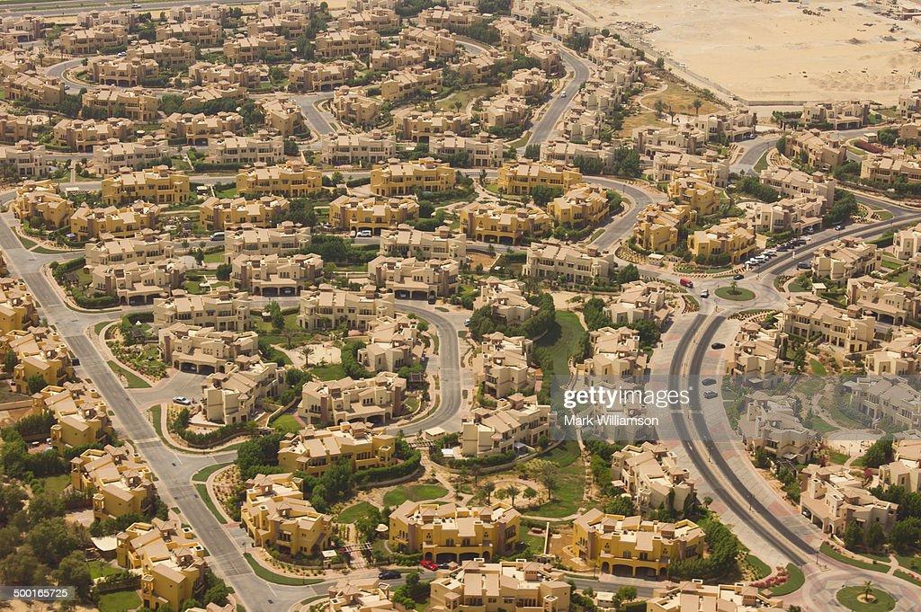 Desert homes near Dubai from the air. : Stock Photo
