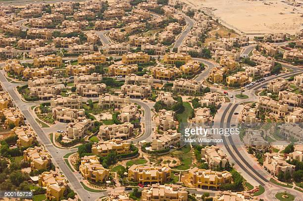 Desert homes near Dubai from the air.