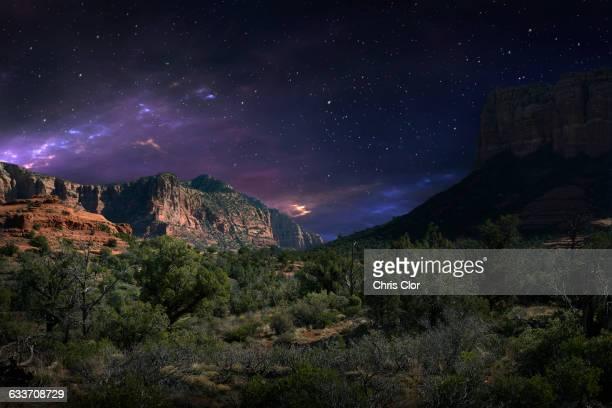 Desert landscape and night sky, Sedona, Arizona, United States