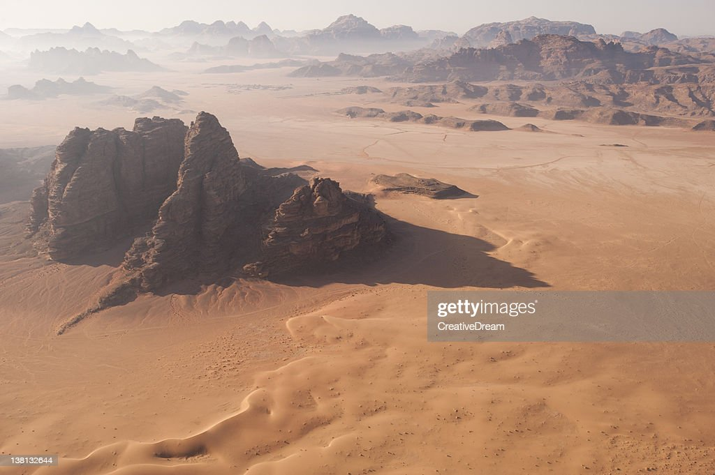 Desert Landscape at Dawn from the air : Stock Photo