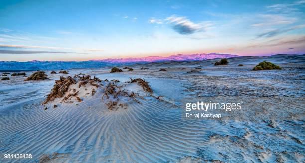 A desert landscape during sunset in California, USA.