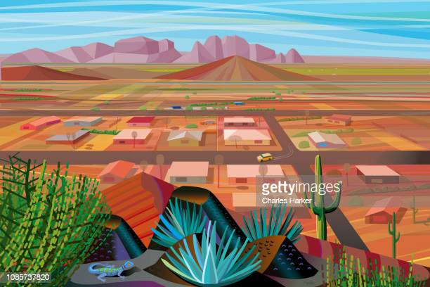 desert landscape illustration with houses - illustration stock pictures, royalty-free photos & images
