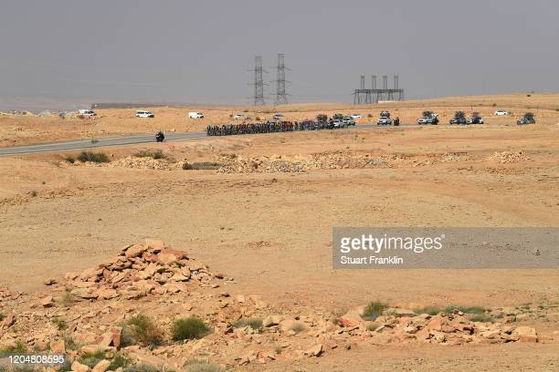 Desert / Landscape / Peloton / during the 1st Saudi Tour 2020, Stage 5 a 144km stage from Princess Nourah University to Al Masmak / #SaudiTour / on...