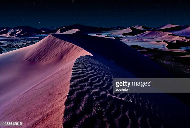 desert of namib at night with orange sand dunes and starry sky - night safari stock pictures, royalty-free photos & images