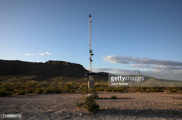 A desert rescue beacon stands along a trail on May 11 2019 near Ajo Arizona The beacons were installed by the US government in remote areas where...