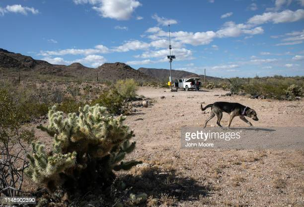A desert rescue beacon stands on a hilltop on May 11 2019 near Ajo Arizona The beacons were installed by the US government in remote areas where...