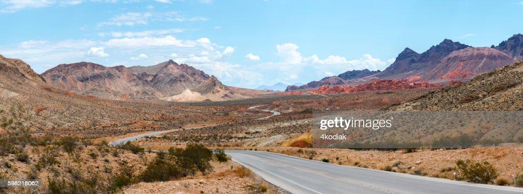 Desert Road Panorama : Stock Photo