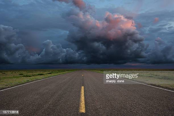 xxl desert road thunderstorm - road stock pictures, royalty-free photos & images