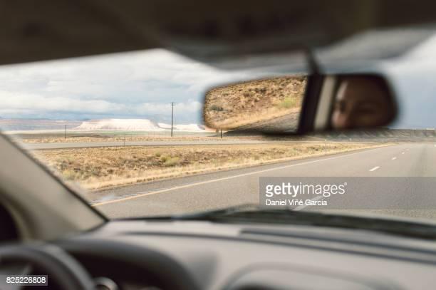 Desert Road, view through windscreen, Utah, USA.