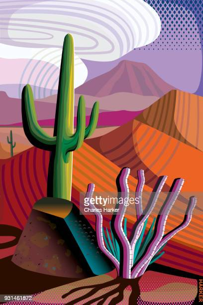 Desert, Saguaro and Ocotillo Cactus, Mountains in distance Landscape Illustration