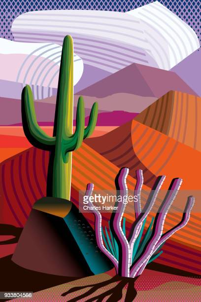 Desert, Saguaro Cactus, Mountains in distance Landscape Illustration