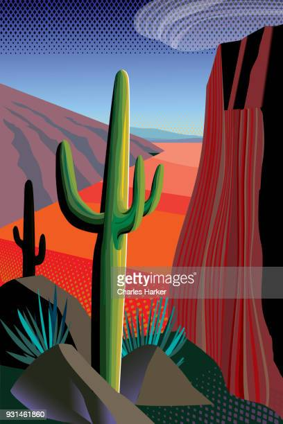 Desert, Saguaro Cactus, Mountains Landscape Illustration