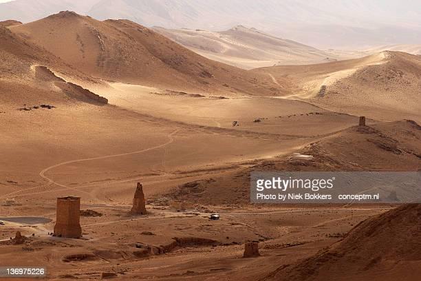 desert shot in palmyra, syria. - siria fotografías e imágenes de stock