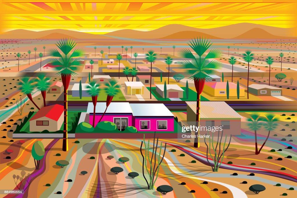 Desert Town in the Mojave Illustration in Vivid Color : Stock Photo