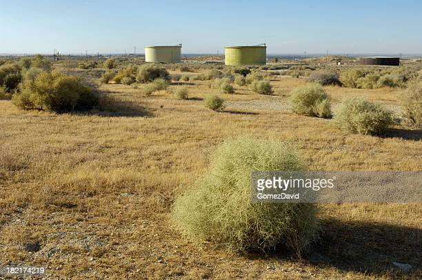 desert tumbleweed with oil well storage tanks in the background - tumbleweed stock photos and pictures