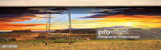 desert wall mural on the side of a building - timothy hearsum stock photos and pictures