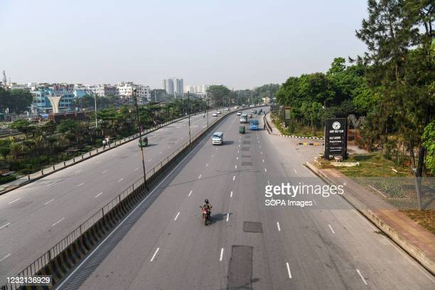 Deserted airport road in the capital of Dhaka during the government-imposed lockdown as a preventive measure against the COVID-19 pandemic.
