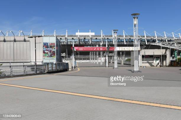Deserted Ajinomoto Stadium, ahead of an opening round women's football match between the U.S. And Sweden, at the Tokyo 2020 Olympic Games in Tokyo,...