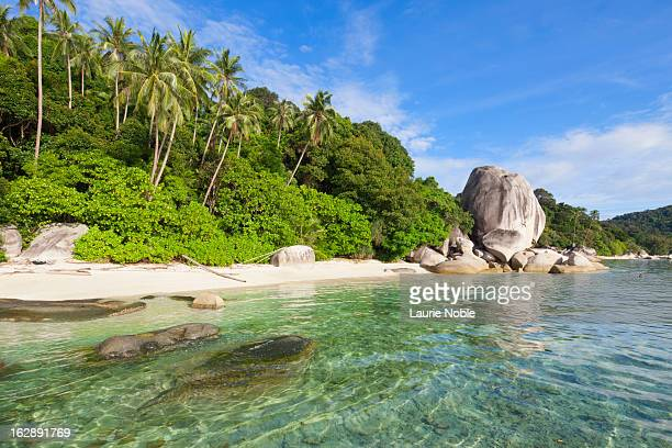 deserted beach, perhentian islands - terengganu stock pictures, royalty-free photos & images
