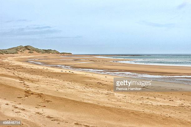 deserted beach, rattray head, aberdeenshire - rattray head stock pictures, royalty-free photos & images
