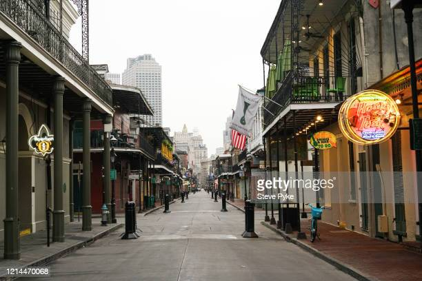 A deserted Bourbon Street in the French Quarter of New Orleans amid restrictions in place to help deal with the Covid19 pandemic 22nd March 2020