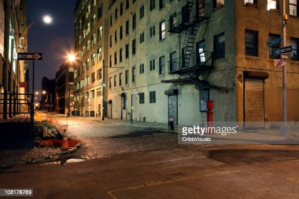 Deserted Brooklyn DUMBO Cobblestone Backstreet at Night Full Moon