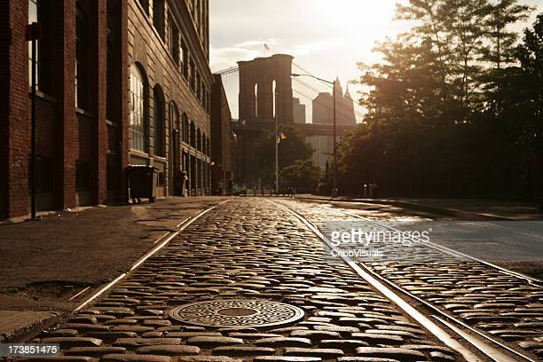 Deserted Brooklyn DUMBO Cobblestone Backstreet Sunset Lens Flare