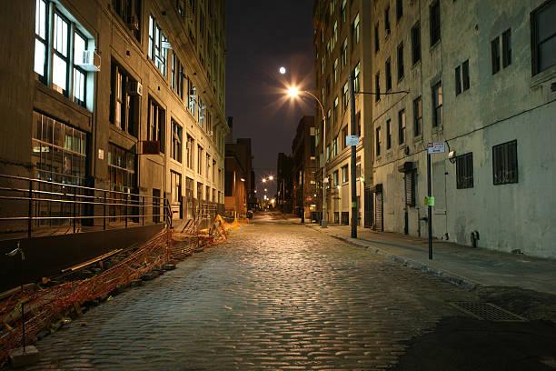 Deserted Brooklyn DUMBO Cobblestone Backstreet at Night Full Moo