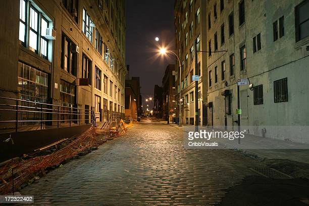 Deserted cobblestone backstreet in Brooklyn at night