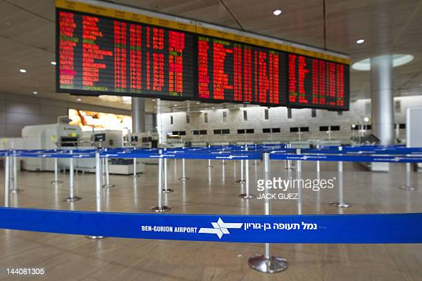 A deserted departures hall is pictured during a sixhour strike at the Ben Gurion Airport near Tel Aviv on February 8 2012 Half a million Israeli...