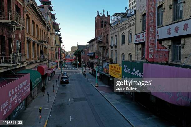 Deserted Grant Street in Chinatown on April 01, 2020 in San Francisco, California. Officials in seven San Francisco Bay Area counties have extend the...