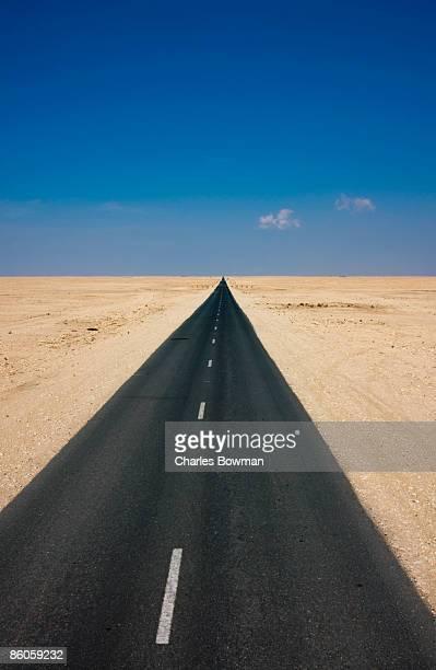 Deserted highway in desert