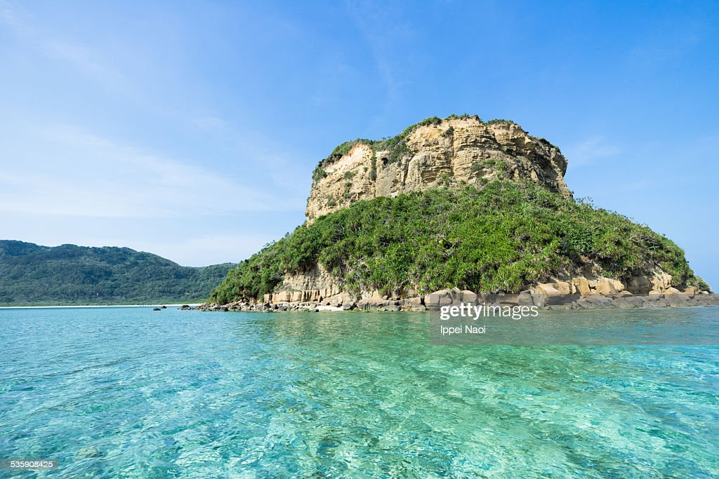 Deserted island with clear tropical water, Japan : Stock Photo
