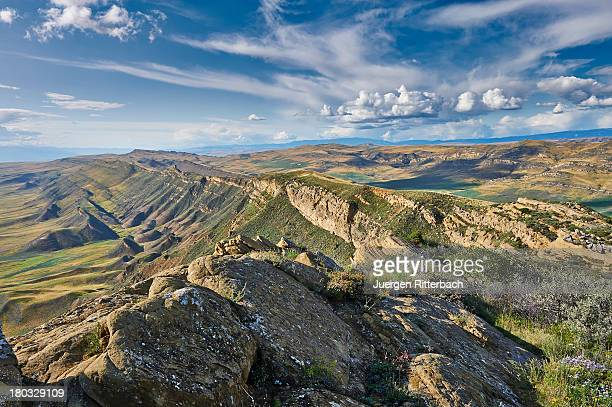 deserted landscape at the azerbaijan border - azerbaijan stock pictures, royalty-free photos & images