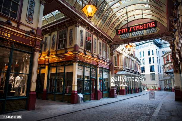 Deserted Leadenhall Market at 5pm on 26th March 2020 in London, United Kingdom. Normally crowded with people leaving work the City of London is like...
