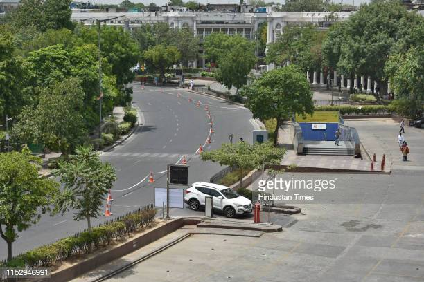 Deserted look of the inner circle of the Connaught Place, on June 30, 2019 in New Delhi, India. The New Delhi Municipal Council on Sunday starts its...