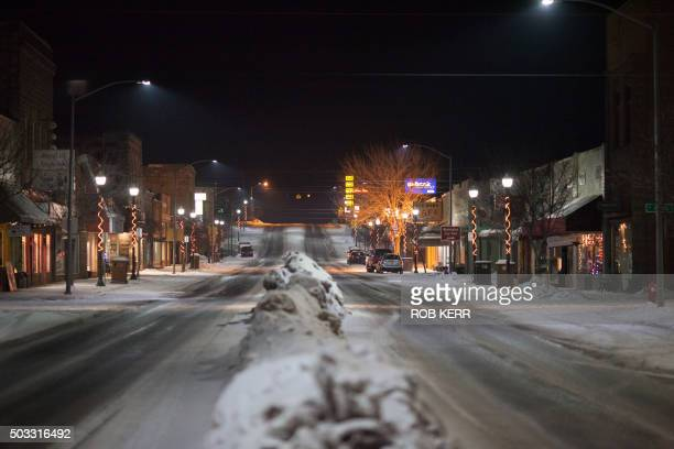 Deserted N Broadway Avenue in Burns Oregon is seen January 3 where 30 miles away a militia group has occupied the Malheur Wildlife Headquarters...