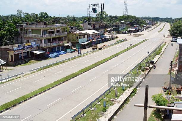 Deserted National Highway 37 due to 12 hours Middle Assam Bandh called by Demand Committee for All India Institute of Medical Science for the...