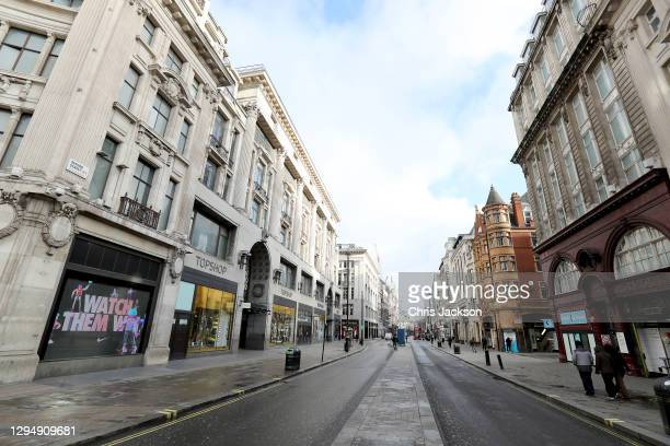 Deserted Oxford Street during England's third lockdown on January 06, 2021 in London, England. British MPs will vote retrospectively on approving the...