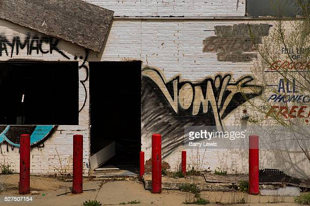 Deserted petrol station on Grand River road near Downtown Detroit Known as the world's traditional automotive center Detroit is a metonym for the...