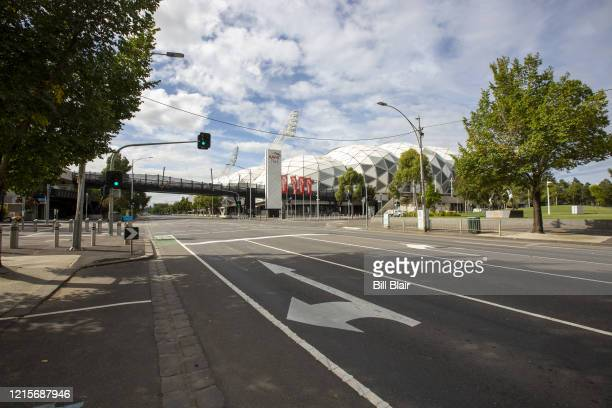 A deserted public area around Melbourne Park in the heart of the city on March 30 2020 in Melbourne Australia Public gatherings are now limited to...