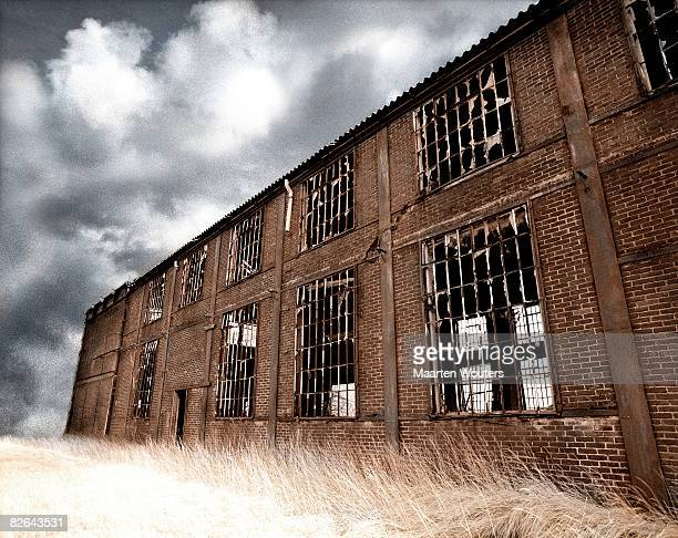 deserted ruined industry building
